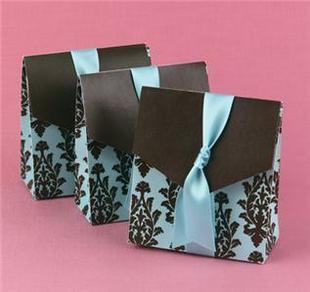 กล่องใส่ของชำร่วยสีฟ้าคาดโบว์
